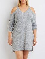 Charlotte Russe Plus Size Marled Cold Shoulder Shift Dress