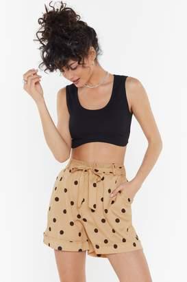 Nasty Gal Womens Polka Dot Belted Shorts - Brown - 6, Brown