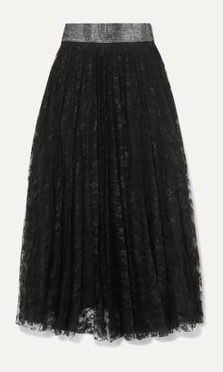 Christopher Kane Crystal-embellished Pleated Lace Midi Skirt - Black