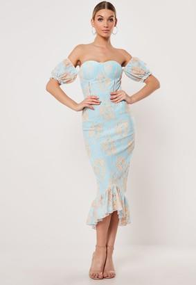 Missguided Blue Lace Bardot Fishtail Midi Dress