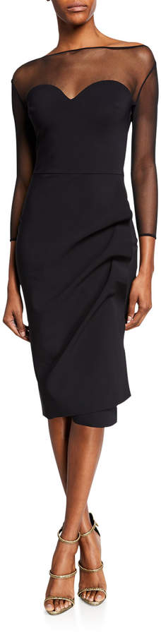794218d960f Black Dress Illusion Sleeve - ShopStyle