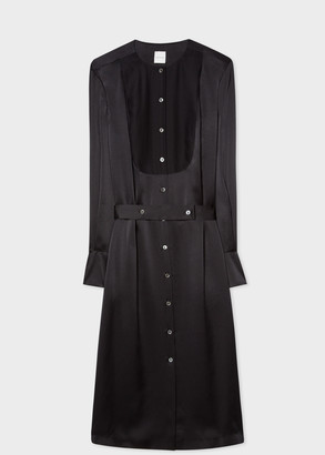 Paul Smith Women's Black Tuxedo Satin Silk Shirt Dress With Bib And Belt Detail