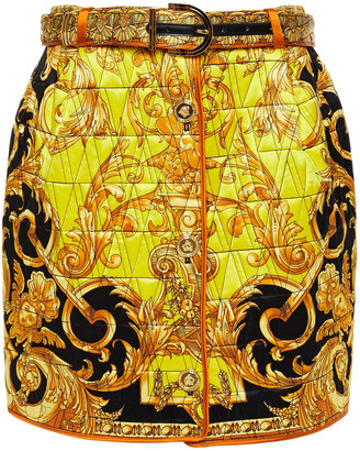 Versace Leather-trimmed Quilted Printed Silk-satin Mini Skirt