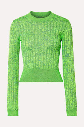 MM6 MAISON MARGIELA Space-dyed Ribbed-knit Sweater - Green
