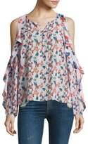 Tanya Taylor Corrine Floral Ikat Gauze Silk Cold-Shoulder Top
