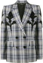 Alexander McQueen Checked Blazer with Thistle Embellishment - women - Cupro/Wool - 44