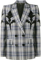 Alexander McQueen Checked Blazer with Thistle Embellishment - women - Wool/Cupro - 40