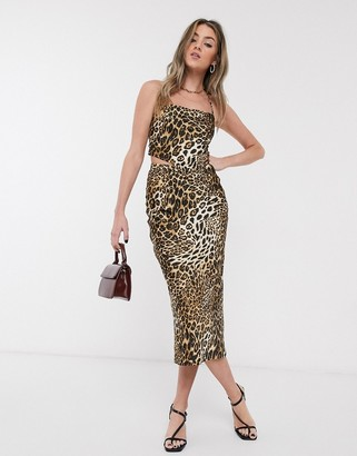 Jagger And Stone Jagger & Stone midi skirt in leopard print satin two-piece