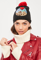 Missguided Black Sequin Christmas Pudding Beanie