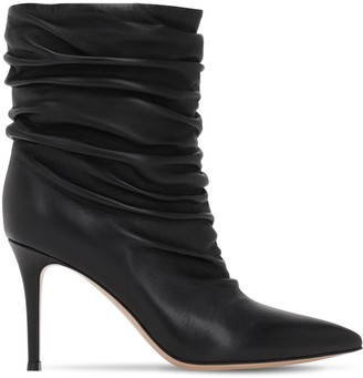 Gianvito Rossi 85mm Cecile Slouched Leather Ankle Boots