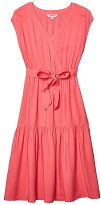 BB Dakota Holding On Rayon Twill Belted Midi Dress (Poppy) Women's Clothing