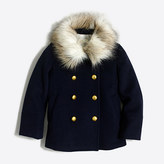 J.Crew Factory Girls' faux-fur collar peacoat