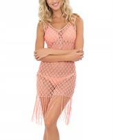 Luli Fama Beachy Coral Sheer Flirty Fringe Cover-Up