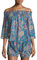 Etro Off-the-Shoulder Paisley-Print Cotton Top