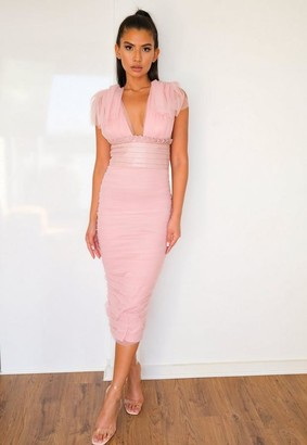 Missguided Blush Ruched Tulle And Faux Leather Midaxi Dress