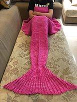 BG Cute Rose Red Mermaid Tail Crochet Blanket All Seasons Soft Warm Sleeping Bags