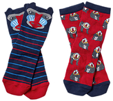 Fat Face Boys' Baboon Socks, Pack of 2, Red/Blue