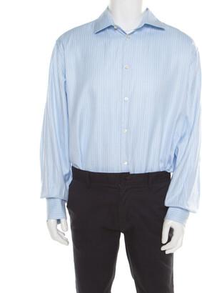 Carolina Herrera CH Blue Striped Cotton Jacquard Long Sleeve Button Front Shirt 3XL