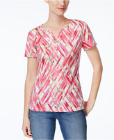 Karen Scott Petite Printed Henley T-Shirt, Only at Macy's