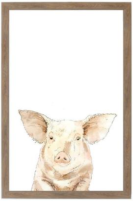 "Petal Lane ""Pig"" Magnet Board With Brown Frame, 24""x16"""