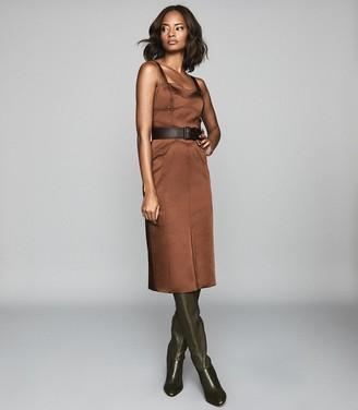 Reiss Madeleine - Structured Bodycon Dress in Chocolate