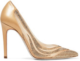 Rene Caovilla Paneled Crystal-embellished Satin, Mesh And Leather Pumps - Gold