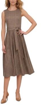 Calvin Klein Plaid Ponte Belted Dress