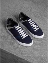Burberry Overdyed House Check Cotton Trainers , Size: 40.5, Blue