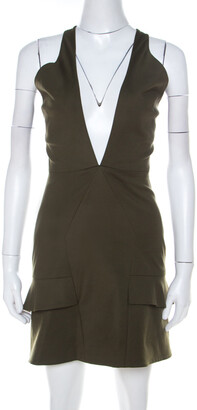 Cushnie Safari Green Stretch Cotton Keyhole Detail Mini Dress XS