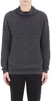 Barneys New York MEN'S DIAMOND-KNIT MOCK TURTLENECK SWEATER-DARK GREY SIZE XL