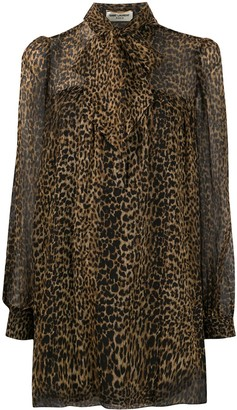 Saint Laurent Leopard-Print Trapeze Dress