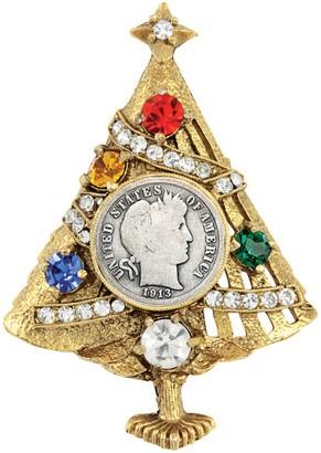 American Coin Treasures Silver Barber Dime Christmas Tree Brooch