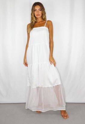 Missguided White Strappy Tiered Midi Dress