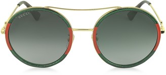 Gucci GG0061S Acetate and Gold Metal Round Aviator Women's Sunglasses