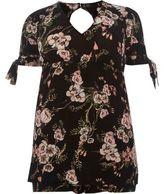 River Island Womens Black floral print tie sleeve romper