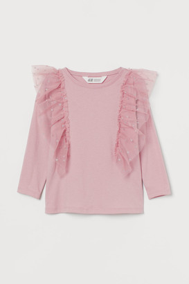H&M Tulle-ruffle Top - Pink