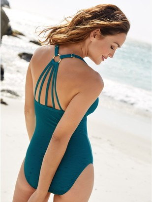 M&Co Ribbed halter neck swimsuit