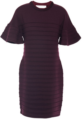 Victoria Victoria Beckham Ruffled Ribbed Wool Mini Dress