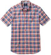 Charles Tyrwhitt Classic Fit Short Sleeve Orange and Blue Check Cotton Shirt Single Cuff Size Large