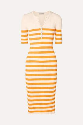 Altuzarra Sunday Striped Ribbed Stretch-knit Midi Dress - Yellow