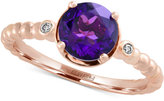 Effy Amethyst (1-1/8 ct. t.w.) and Diamond Accent Solitaire Ring in 14k Rose Gold