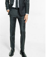 Express slim photographer charcoal gray windowpane wool blend suit pant