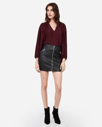 Express High Waisted Zip Front Vegan Leather Mini Skirt