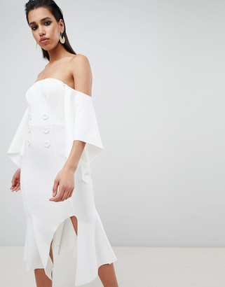 Asos Design DESIGN bandeau kimono sleeve midi dress with tux button detail-White