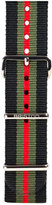 Briston 20mm Striped Nylon Watch Strap, Black/Green/Red