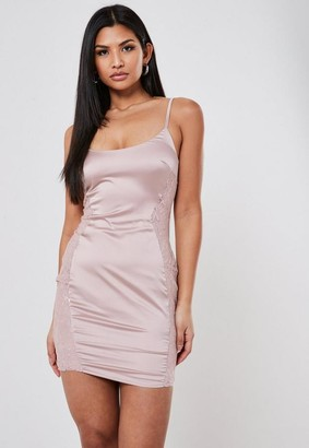 Missguided Nude Stretch Satin Lace Insert Mini Dress