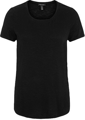 Tribal Short Sleeve Crew Neck Tee w/ Side Slit (Black) Women's Clothing