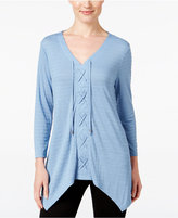 Style&Co. Style & Co. Lace-Up Handkerchief-Hem Top, Only at Macy's