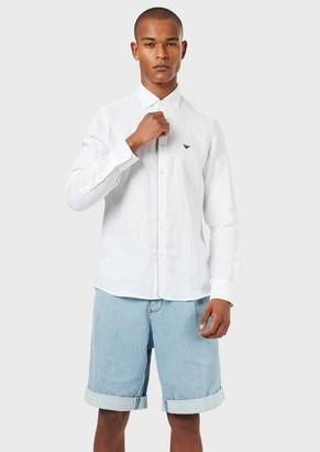 Emporio Armani Linen Shirt With Detachable Collar