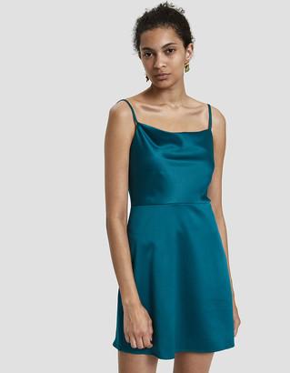 Stelen Women's Caspen Cowl Neck Mini Dress in Teal, Size Small | Spandex